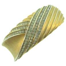 Signed Crown Trifari clamper Bracelet with crystal rhinestones
