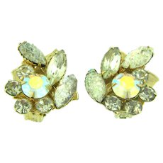 Signed Judy Lee clip back Earrings with crystal and AB rhinestones