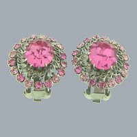 Made in Austria silver tone clip back Earrings with pink rhinestones