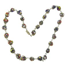 Vintage millefiori Italian end of day glass bead Necklace