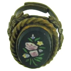 Vintage large brass adjustable Ring with black hand painted floral glass piece