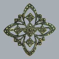 Marked 925 sterling silver marcasite Brooch