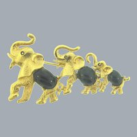 Signed D'Orlan figural elephants Brooch with black glass cabochons