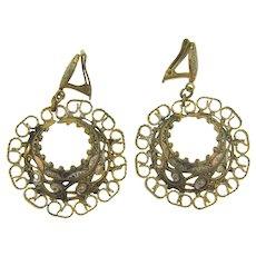 Vintage Damascene clip back hoop Earrings