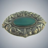 Stamped 800 silver floral Brooch with chrysoprase stone