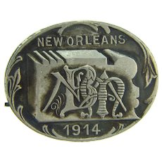 N.B.M.A. 1914 convention in New Orleans,La. Badge made by the Greenduck Co. of Chicago, IL.