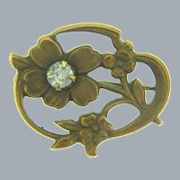 Vintage small floral early Scatter Pin with paste stone