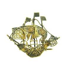 Vintage vermeil filigree wire Spanish galleon ship Brooch