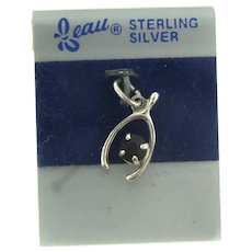 Signed Beau sterling silver NOS wishbone Charm with deep red rhinestone