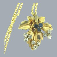 Vintage retro pendant Necklace with crystal and blue rhinestones