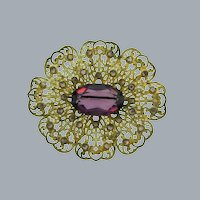 Vintage large lacy Brooch with deep purple and tiny lavender rhinestones