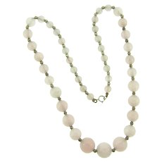 Vintage pink quart beaded Necklace with silver tone spacer beads