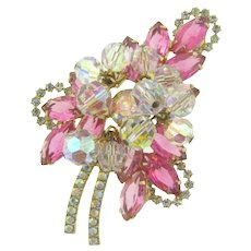 Vintage D&E Juliana gold tone leaf Brooch with pink, crystal and AB rhinestones and crystal dangles
