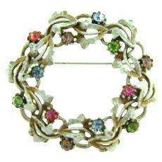 Signed ART wreath Brooch with enamel and rhinestones