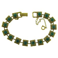 Signed Goldette NY link Bracelet with  emerald green rhinestones