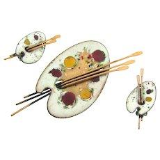 Signed Matisse Renoir enamel over copper palette Brooch and clip back Earrings