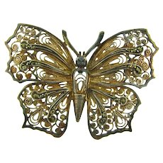 Marked Sterling Germany vermeil filigree butterfly Brooch with marcasites