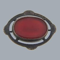 Vintage small silver tone Scatter Pin with carnelian glass stone
