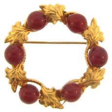 Marked 12KT gold filled wreath Brooch with cherry amber beads