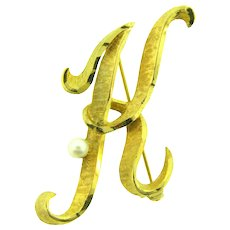 Signed Mamselle initial K Brooch with genuine pearl