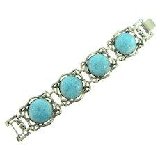 Vintage chunky silver tone link Bracelet with large mottled light blue glass cabochons