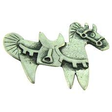 Signed Metzke figural pewter modernistic horse Brooch