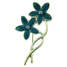 Vintage small floral silver tone Brooch with blue enamel and blue rhinestones