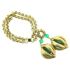Signed Napier rare runway double chain link Bracelet with large fruit pod dangling charms
