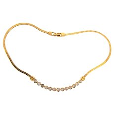 Signed Swarovski gold tone choker Necklace with crystal rhinestones