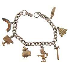 Vintage charm Bracelet with leprechaun theme