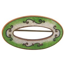 Marked Genuine Cloisonne oval early Scatter Pin