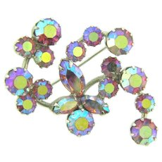 Vintage abstract 1960's Brooch with pink AB rhinestones