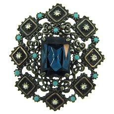 Signed Florenza silver tone Brooch with crystal rhinestones, turquoise glass beads and deep blue large rhinestone