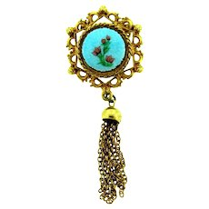 Vintage gold tone Brooch with guilloche center and tassel