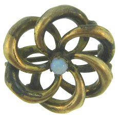 Small early  Celtic Knot Scatter Pin with tiny opal stone