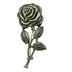 Marked Sterling silver figural rose Brooch