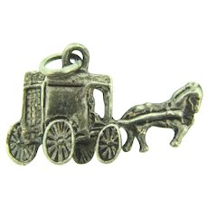 Marked Sterling silver Charm of horse drawn delivery truck