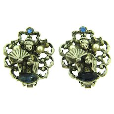 Vintage Asian themed clip back Earrings with imitation pearls and blue rhinestones