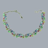 Vintage silver tone choker link Necklace with colorful pastel rhinestones