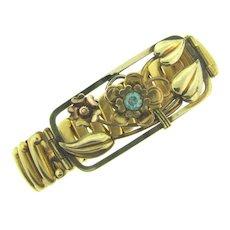 Signed Lustern gold tone expansion Bracelet with floral design