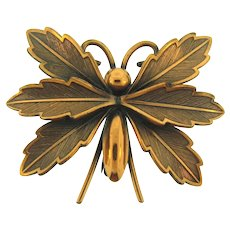 Marked solid copper with the Bell logo figural copper butterfly Brooch
