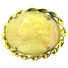 Vintage large oval sideways left facing  scenic shell cameo in gold tone frame