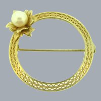 Signed Carla 1/20 12K gold filled Brooch with genuine pearl flower