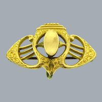 Vintage signed  S&W  Art Deco gold tone Watch Pin