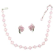 Signed Laguna pink crystal bead choker Necklace and clip back Earrings