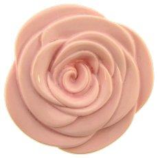 Vintage large pink hard plastic flower Brooch