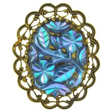 Vintage gold tone Brooch with floral iridescent molded glass section