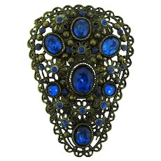 Signed with New England Glassworks logo large Dress Clip with blue rhinestones