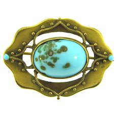 Vintage early smaller Brooch with art glass cabochon