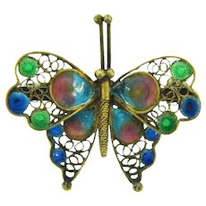 Marked 800 silver vermeil plique a jour figural butterfly Scatter Pin